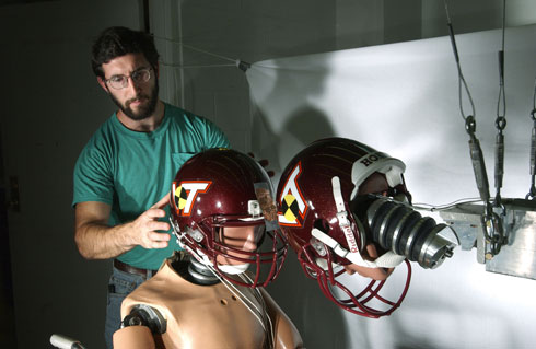 Virginia Tech football helmet test