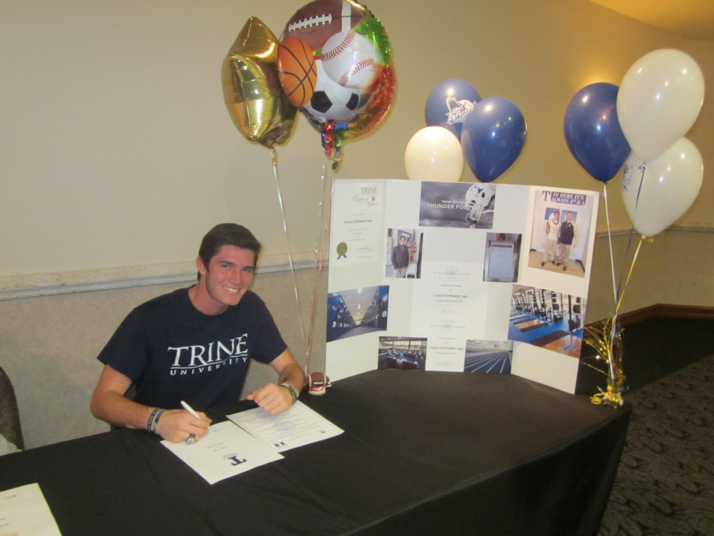 Sports Unlimited Scholarship Winner ,Trystan Lago signing Trine Football Agreement