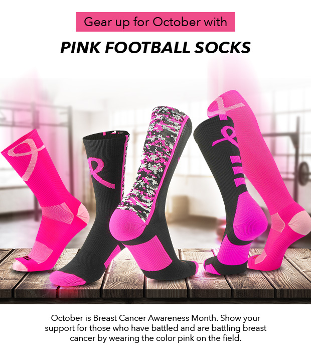 Pink Football Socks for October Breast Cancer Awareness
